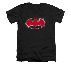 Image for Batman V Neck T-Shirt - Hardcore Noir Bat Logo
