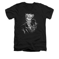 Image for Batman V Neck T-Shirt - Joker's Splatter Smile