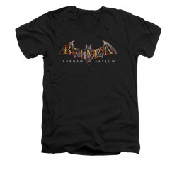 Image for Batman Arkham Asylum V Neck T-Shirt - Arkham Asylum Logo