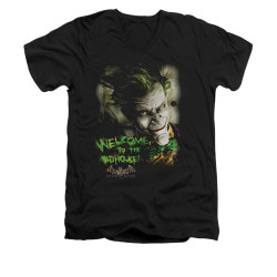 Image for Batman Arkham Asylum V Neck T-Shirt - Welcome To The Madhouse