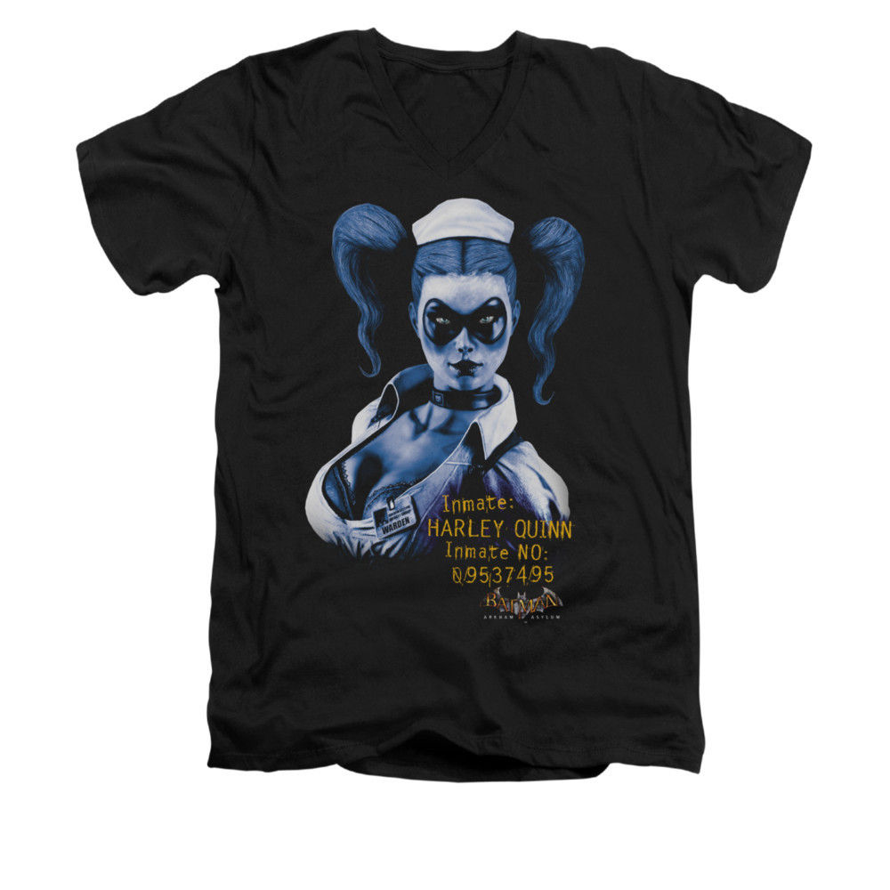 284abf65f044cd Batman Arkham Asylum V Neck T-Shirt - Arkham Harley Quinn - NerdKungFu