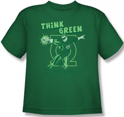 Image for Green Lantern Think Green Youth T-Shirt