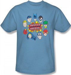 Image Closeup for Justice League of America Head Circle T-Shirt