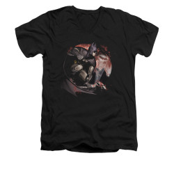 Image for Arkham City V Neck T-Shirt - Blood Moon
