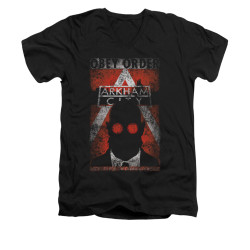 Image for Arkham City V Neck T-Shirt - Obey Order Poster