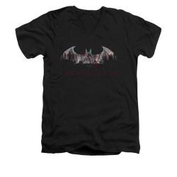 Image for Arkham City V Neck T-Shirt - Bat Fill