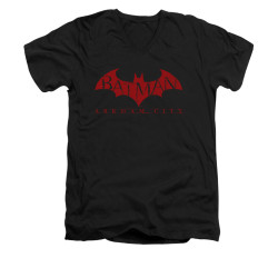 Image for Arkham City V Neck T-Shirt - Red Bat