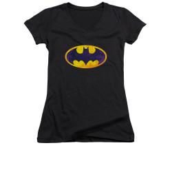 Image for Batman Girls V Neck - Neon Distress Logo