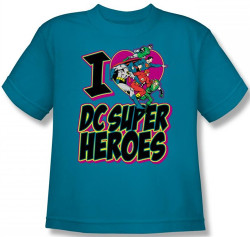 Image for Justice League of America I Heart DC Super Heroes Youth T-Shirt