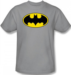 Image Closeup for Batman T-Shirt - Logo on Silver