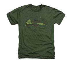 Image for Batman Heather T-Shirt - Distressed Camo Shield