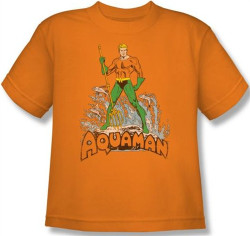 Image for Aquaman Distressed Youth T-Shirt