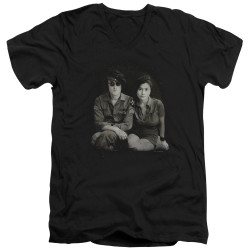 Image for John Lennon V Neck T-Shirt - Beret