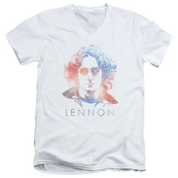 Image for John Lennon V Neck T-Shirt - Colorful