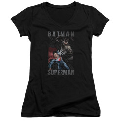Image for Batman vs Superman Girls V Neck - Hero Split