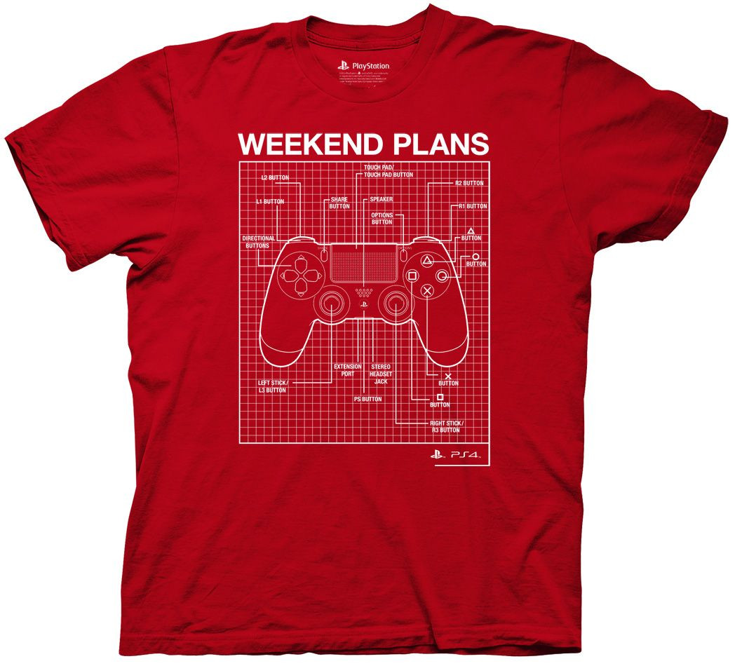 2801562c83cb19 Playstation Weekend Plans Logo T-Shirt - NerdKungFu