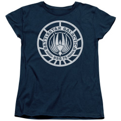 Image for Battlestar Galactica Womans T-Shirt - Scratched BSG Logo