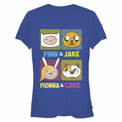 Image for Adventure Time Juniors T-Shirt - Finn & Jake & Fionna & Cake