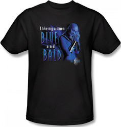 Image Closeup for Farscape Blue and Bald T-Shirt