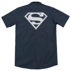 Image for Superman Dickies Work Shirt - Navy & White Shield