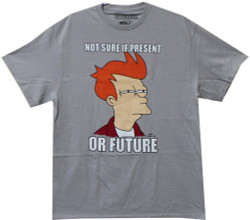 Image Closeup for Futurama T-Shirt - Fry Not Sure if Present or Future
