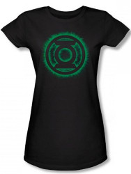 Image for Green Lantern Green Flame Logo Girls Shirt