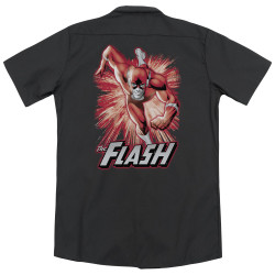Image for Justice League Of America Dickies Work Shirt - Flash Red & Gray