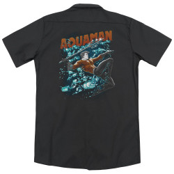 Image for Justice League Of America Dickies Work Shirt - Aqua Bubbles