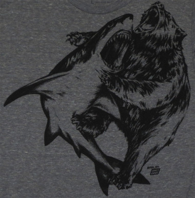 Image for Ames Bros Shark vrs Bear T-Shirt Grey