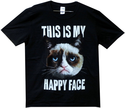 40f1b925f082 Grumpy Cat This is my Happy Face T-Shirt - NerdKungFu