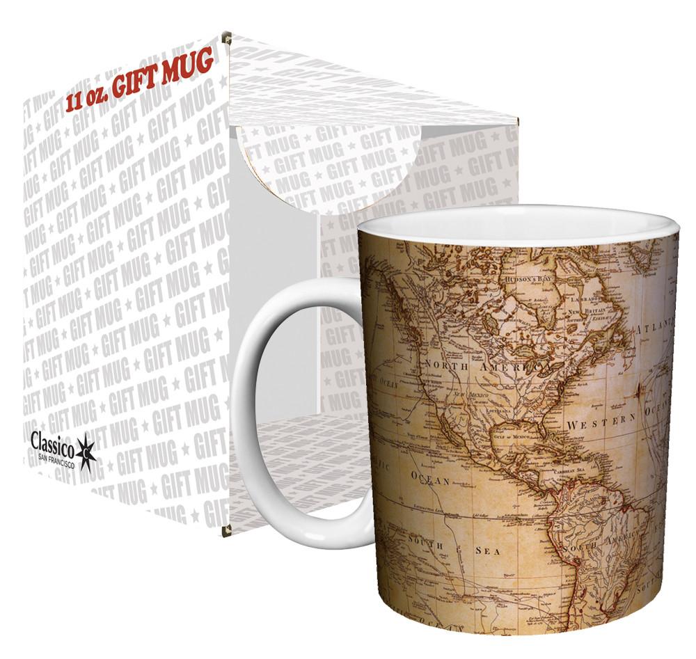 Antique World Map Coffee Mug Nerdkungfu