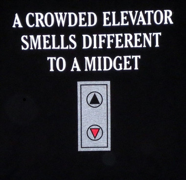 Crowded elevator smell different to midget