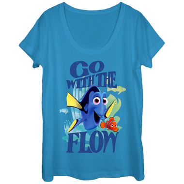 Image for Finding Dory Juniors Scoop Neck Heather Shirt - Flow