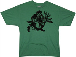 Image Closeup for Ames Bros Leprechaun vs Jackalope Green T-Shirt