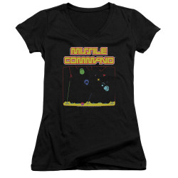 Image for Atari Girls V Neck T-Shirt - Missile Command Screen