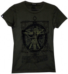 Image Closeup for Vitruvian Steam Punk girl's T-Shirt