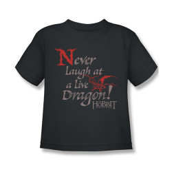 Image for The Hobbit Kids T-Shirt - Desolation of Smaug Never Laugh at a Dragon