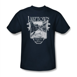 Image Closeup for The Hobbit Desolation of Smaug Laketown Sign T-Shirt