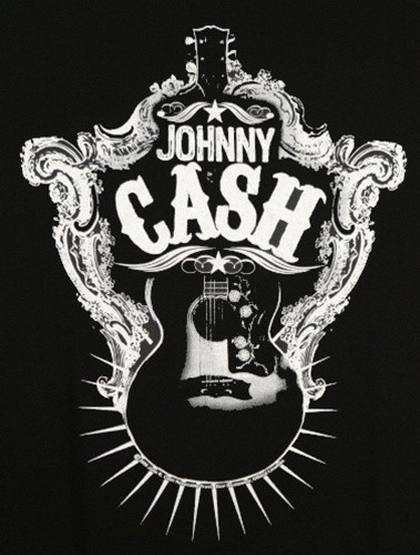 Image for Johnny Cash Guitar Shield T-Shirt