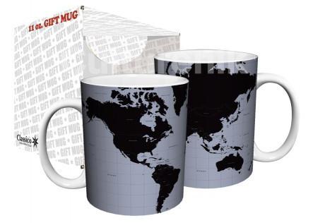 World Map Black And Silver Coffee Mug Nerdkungfu