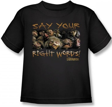 Image for Labyrinth Kids T-Shirt - Say Your Right Words