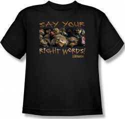 Image for Labyrinth Youth T-Shirt - Say Your Right Words