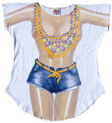 Image for Mardi Gras Girl Cover Up T-Shirt