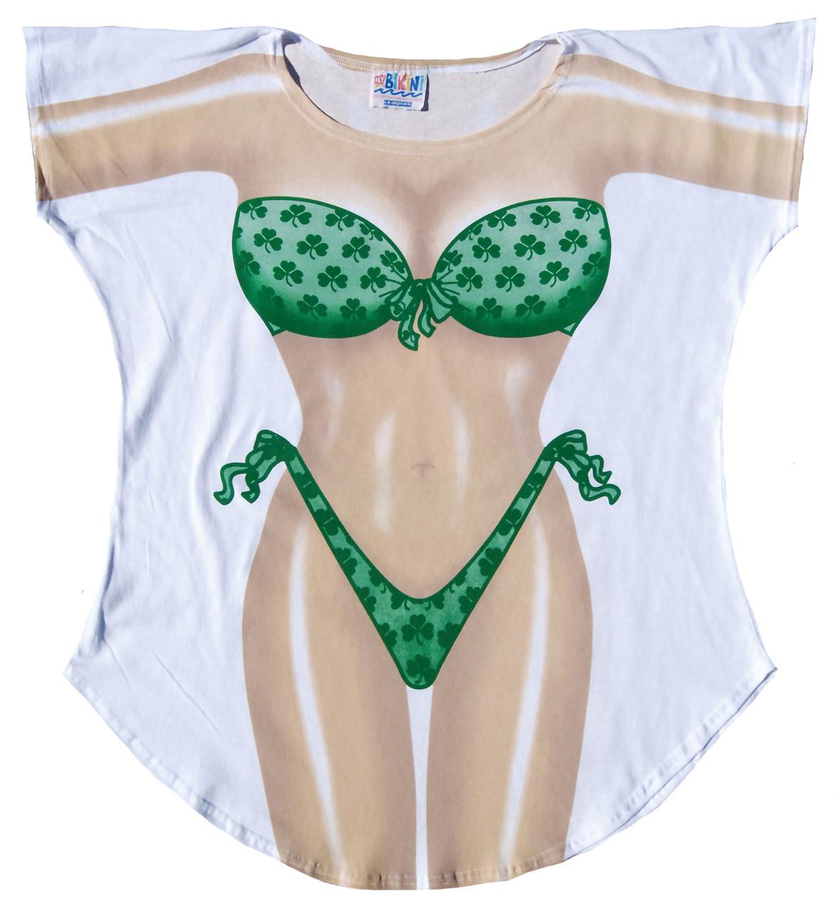 765f96730f Shamrock Bikini Womens Cover Up T-Shirt, Novelty Shamrock Bikini ...