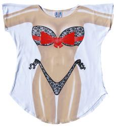 Image for Black Lace Bikini Cover Up T-Shirt