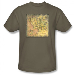 Image Closeup for Lord of the Rings Middle Earth Map T-Shirt
