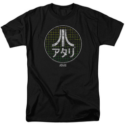 Image for Atari T-Shirt - Green Grid Kanji Logo