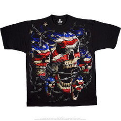 Image for Patriotic Skulls Black T-Shirt