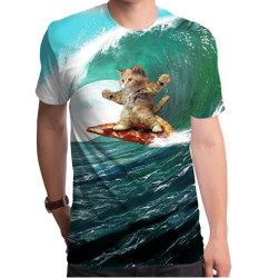 Image for Surfs Up Pizza Cat Sublimated T-Shirt
