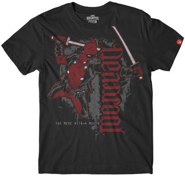 Image for Deadpool Mercenary Flying Ambigram T-Shirt